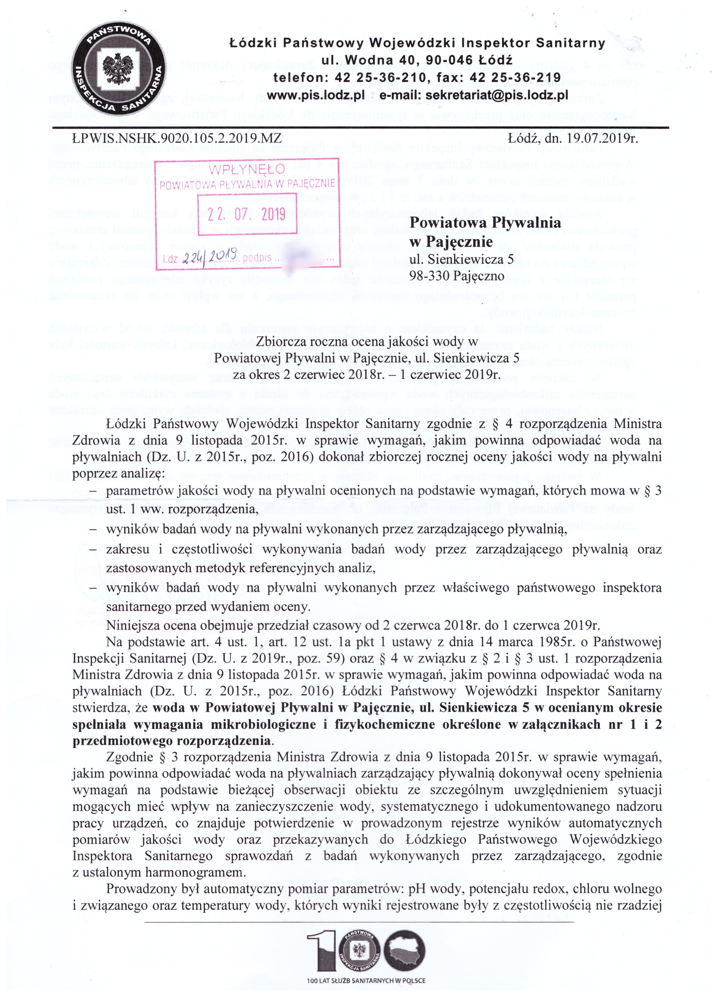 Zbiorcza roczna ocena jakości wody w Powiatowej Pływalni w Pajęcznie - strona 1