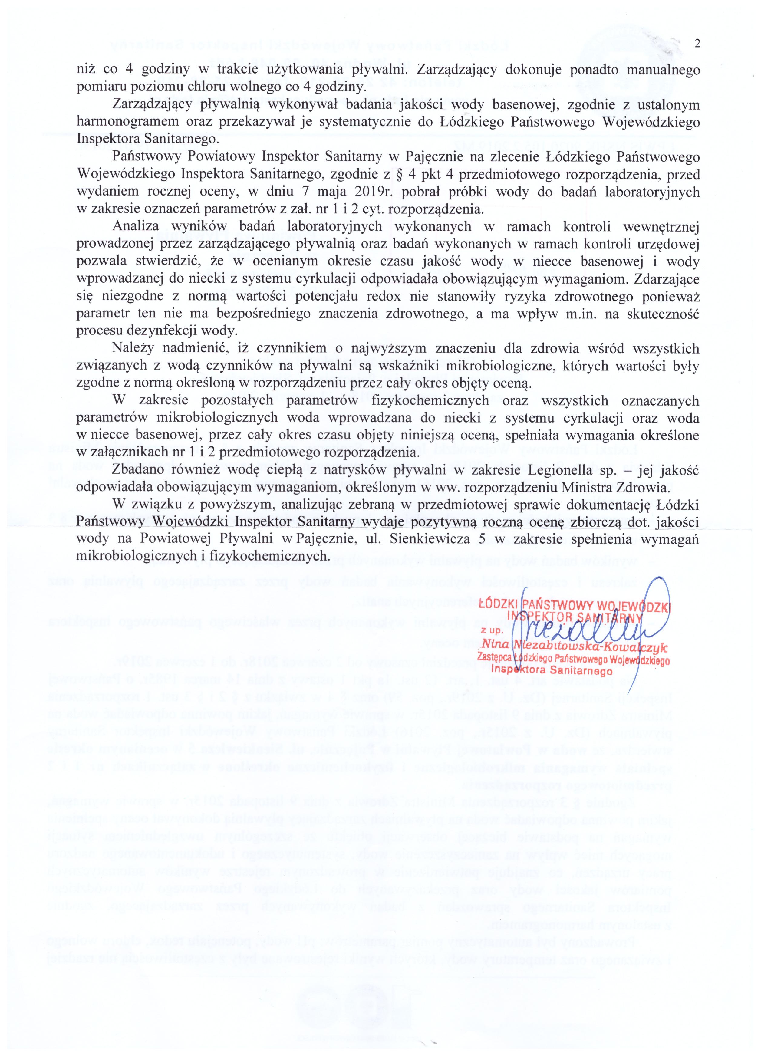 Zbiorcza roczna ocena jakości wody w Powiatowej Pływalni w Pajęcznie - strona 2
